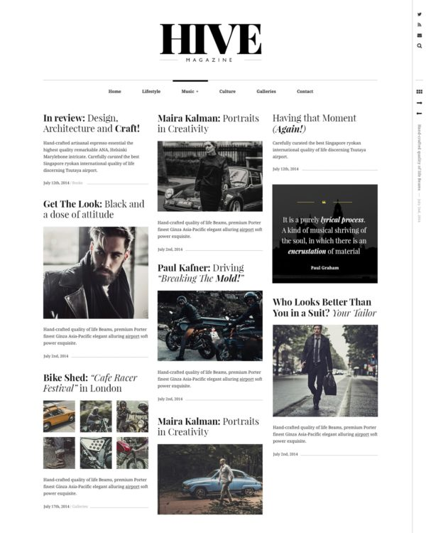 Hive a lifestyle blog WordPress theme
