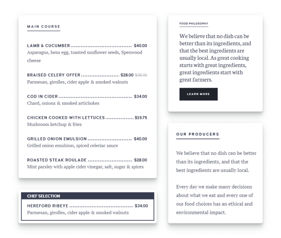 Publish your Menu Online with this restaurant and cafe WordPress theme