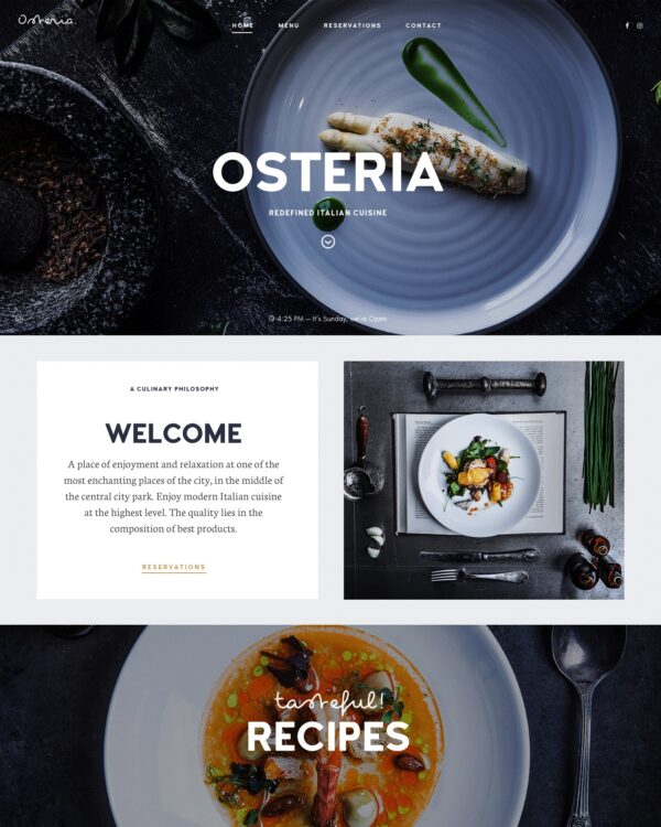 Osteria Home Page Screenshot
