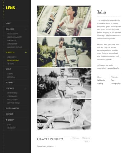 Lens a clean photography WordPress theme Tablet View