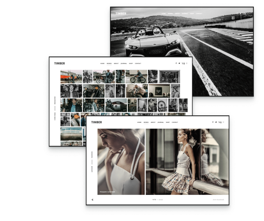 showcase videos, photos, and text with this elegant photography WordPress theme