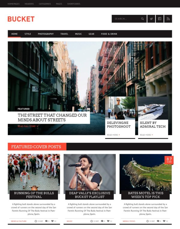 Bucket a news WordPress theme