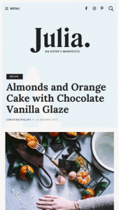Julia a food blog WordPress theme Mobile Responsive