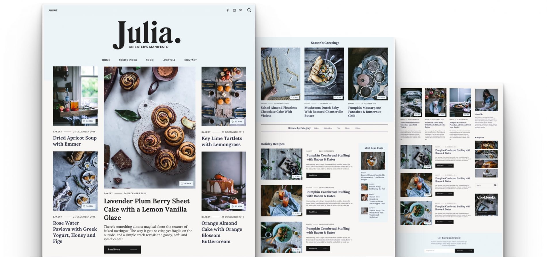 Julia food blogging WordPress theme with widget home page