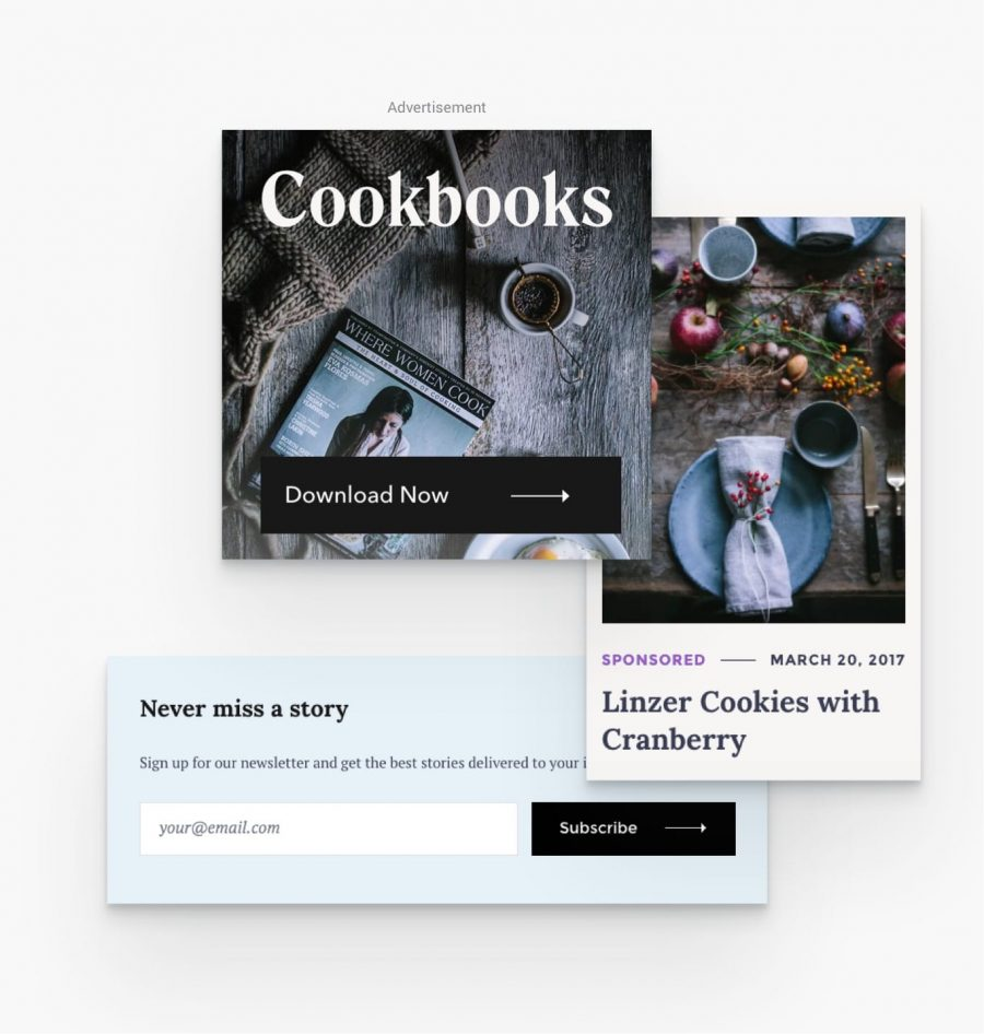 easy ad placement in Julia the food blogging wordpress theme