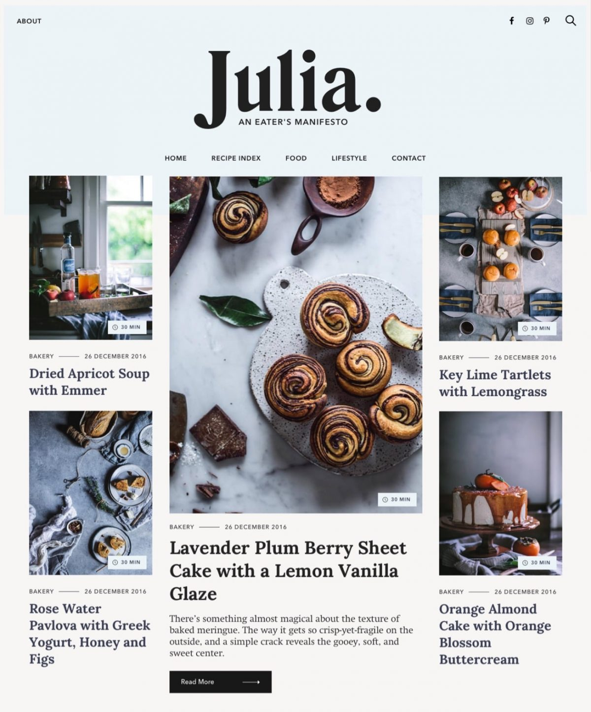 Julia food blog WordPress theme Desktop View