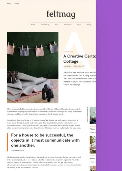 Felt Magazine WordPress Theme Tablet View