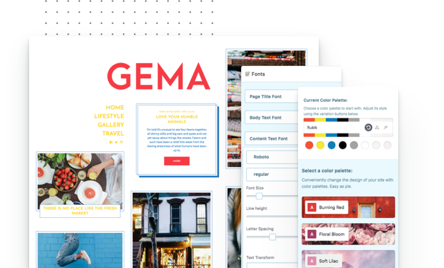 Gema colors palettes and fonts editing with style manager