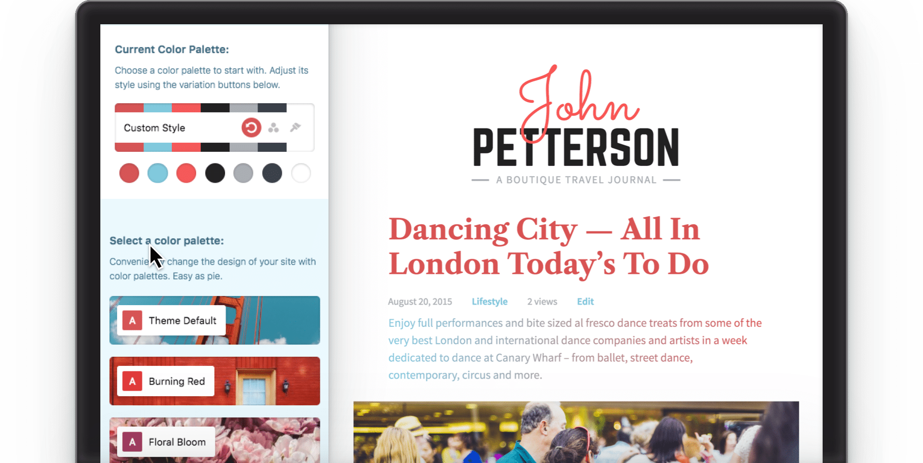 Style manager to change colors and fonts on Jason an editorial WordPress theme