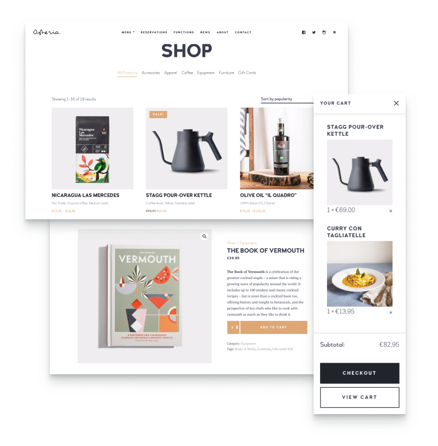 Enable online food ordering with this restaurant and cafe WordPress theme