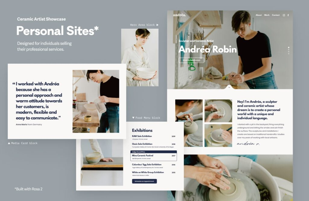 Rosa 2 Website example #2 - for personal websites that tell an engaging story