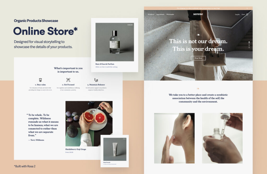 Rosa 2 Website example #2 for e-commerce websites where products shine