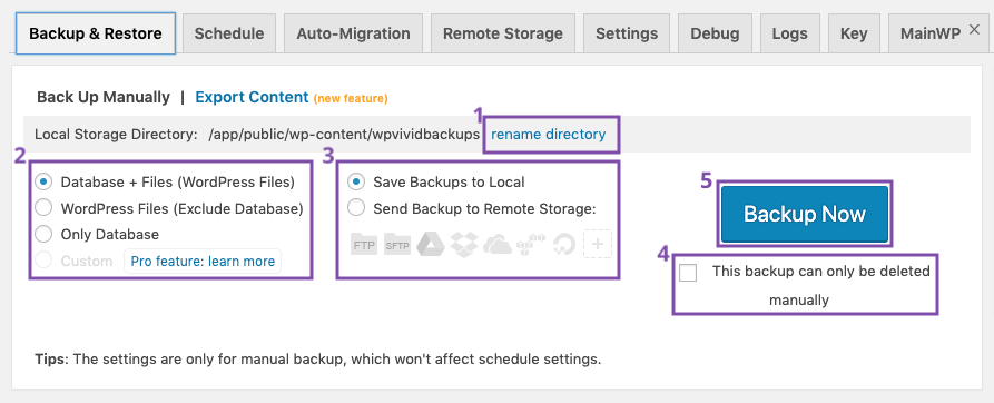 manual backup for your WordPress website using WPvivid