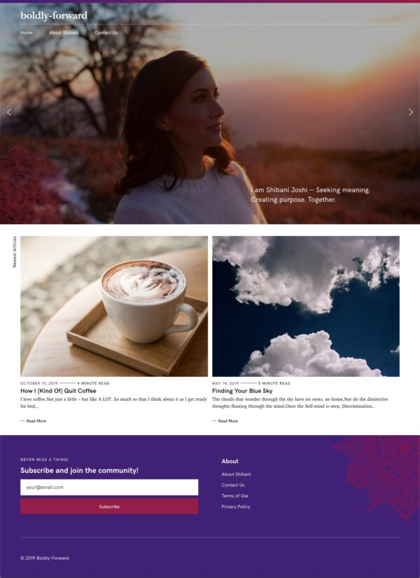 Boldly Forward Pixelgrade customer that use the Felt WordPress theme