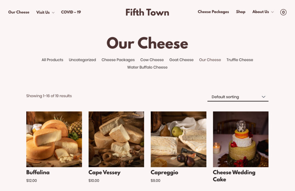 Fitth Town's cheese shop page